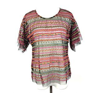 Anthropologie Maeve Naples Mesh Embroidered Top S